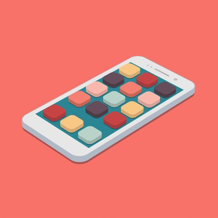 flat smartphone with app icons set on coral color background.