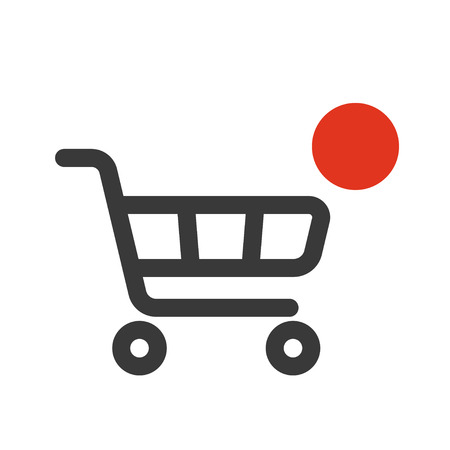 vector shopping cart icon with counter added online commodity on white background.
