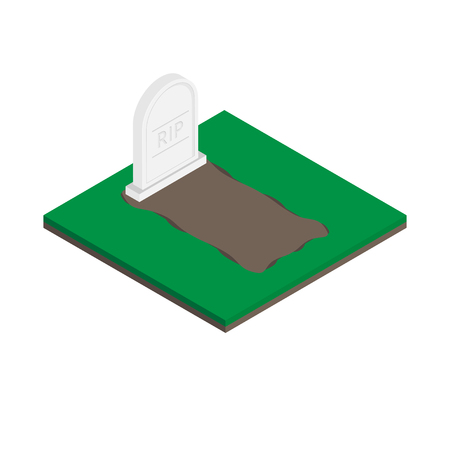 Vector gravestones Isometric icon on white background.