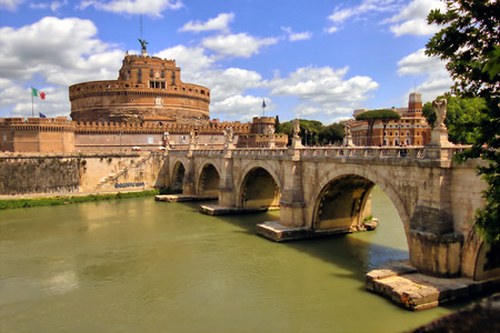 castel: The river Tiber and the castle and bridge of Sant Angelo