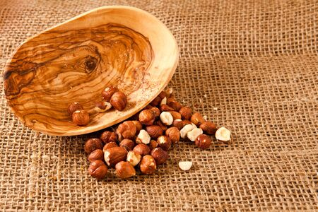 hazelnuts on hessian Stock Photo - 10040902