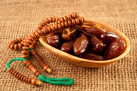 dates on hessian Stock Photo