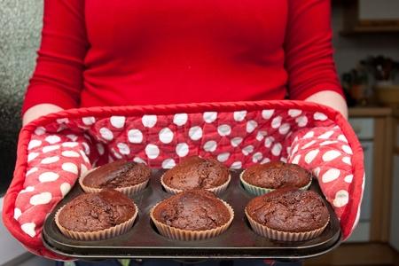 freshly baked chocolate muffins photo