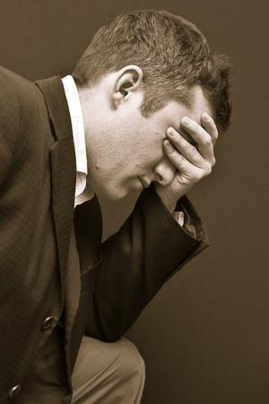 monochrome young man Standard-Bild
