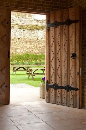 open wooden door photo