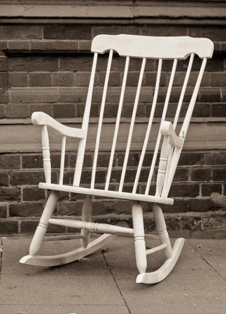 silla de madera: Mecedora Foto de archivo