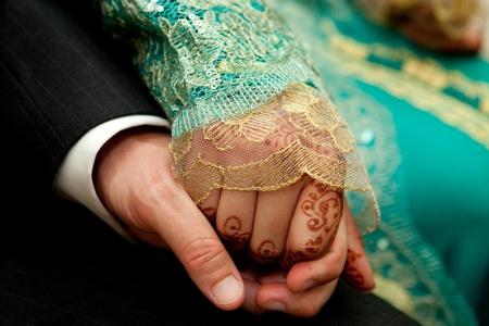 wedding suit: wedding couple hands Stock Photo