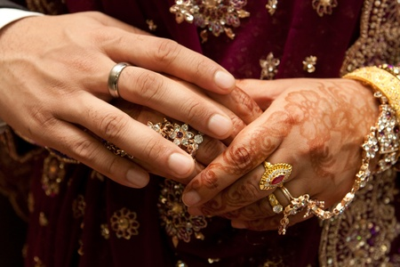 asian bride: wedding couple hands Stock Photo