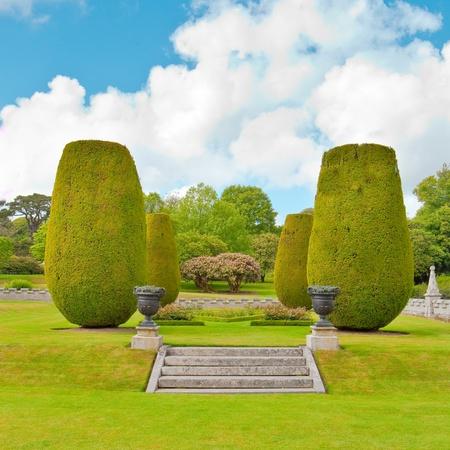 A beautiful English ornamental garden in summer photo