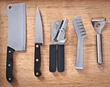 detailed image: Detailed image of various modern kitchen utensils