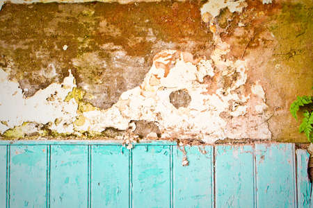 plaster mould: An interesting textured background image of a decaying wall and blue wooden panels