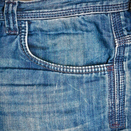 Detailed image of the pocket of denim jeans