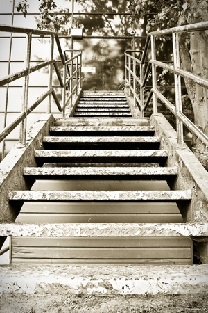 Sepia Image Of A Flight Of Outside Metal Stairs Stock Photo   11236223