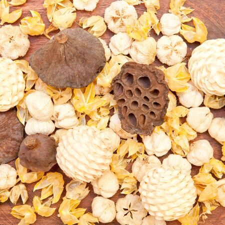 Pot pourri as a background image on a wooden surface photo