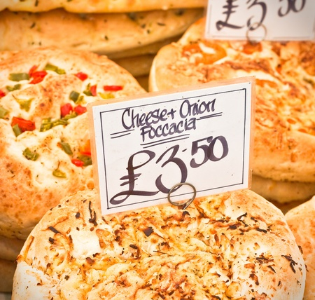 gb pound: Freshly baked italian foccacia at a market stall in the UK