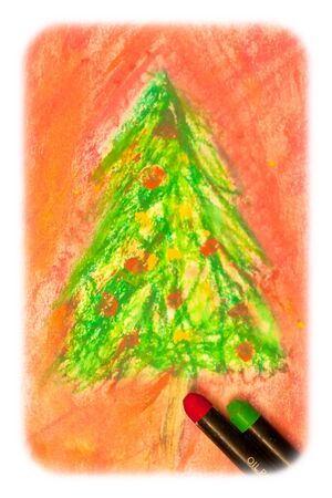 arty: Lovely textured image of a christmas scene drawn by oil pastel Stock Photo