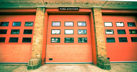 fire station: Nice vintage toned image of a fire station in the UK