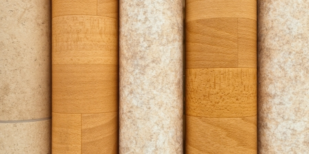 Rolls of vinyl laminated flooring close up photo