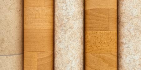 wood flooring: Rolls of vinyl laminated flooring close up Stock Photo