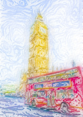 Unique textured digital drawing of a classic red London bus in front of the Houses of Parliament photo