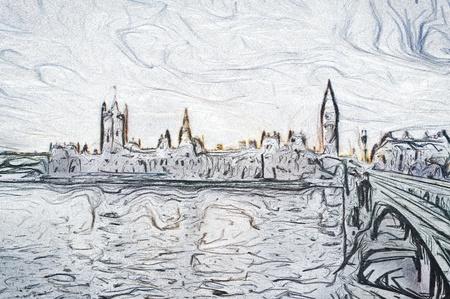 houses of parliament: Unique digital pencil sketch of the houses of parliament in London Stock Photo