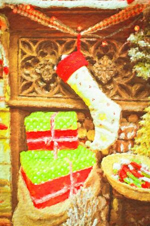 Nice textured painting of a traditional stocking hanging on a mantle piece Stock Photo - 11793295