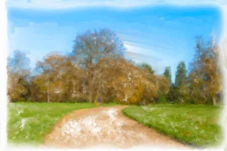 Beautiful watercolour image of a rural scene in autumn photo