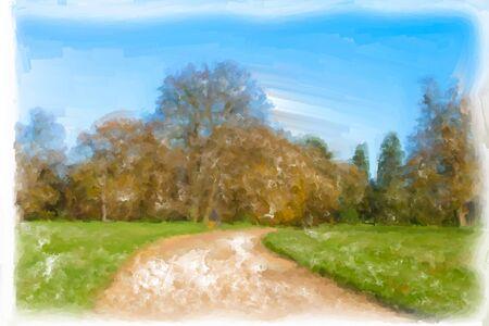 Imagen hermosa acuarela de un paisaje rural en otoño Foto de archivo - 11793291