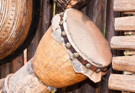 A selection of traditional african musical instruments photo