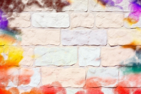 Wall with paint marks as an unusual background image photo