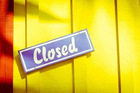 Colrful closed sign on a doorway in a tropical place Stock Photo - 14568481