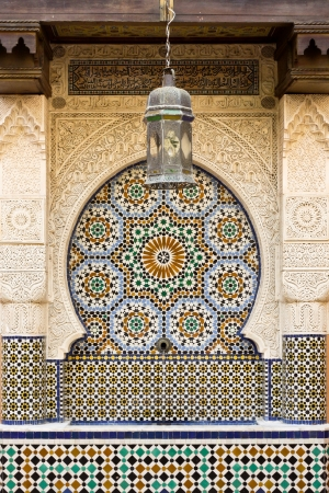 Moroccan arch and fountain with classic zellige tiles