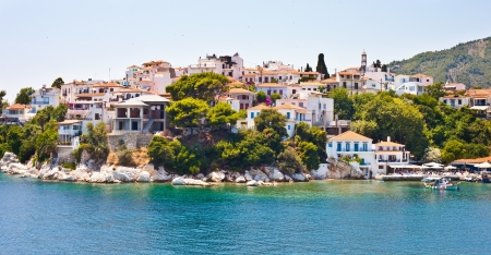 skiathos: View of Skiathos town and harbour in Greece, summer 2012 Stock Photo