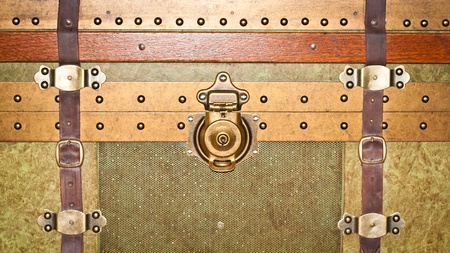 Close up of a vintage storage trunk photo