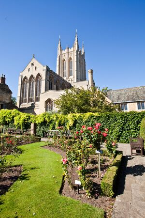 St Edmundsbury Cathedral in England, with a rose garden in the foreground