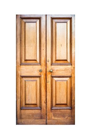 locked the door locked: A tall wooden double door isolated on white Stock Photo