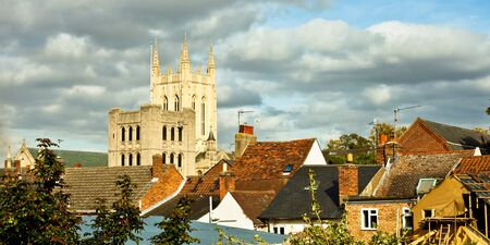 Rooftops and cathedral tower on an autumn day in Bury St Edmunds, UK Editorial