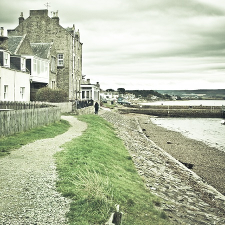 Seaside path in Findhorn, Scotland in winter Stock Photo - 16772171