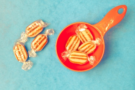 bah: Humbug sweets on a vibrant blue background Stock Photo