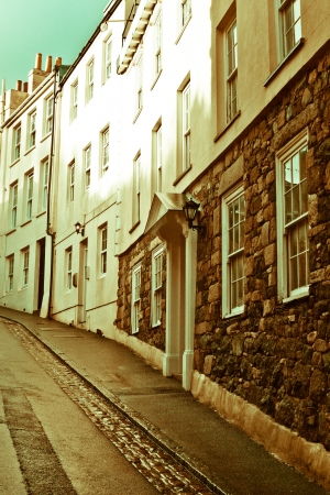 guernsey: Row of elegant town houses in Guernsey
