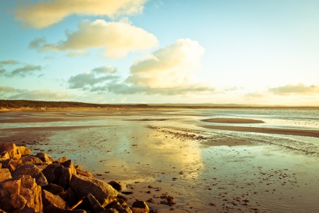 moray: Low tide at Burghead beach in Scotland