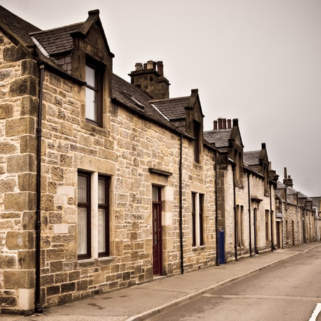 Row of traditional stone houses in a scottish village Stock Photo - 17630797