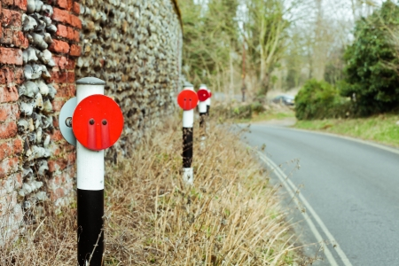 grass verge: Reflective posts along the side of a rural road in England