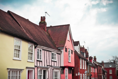 bury: Row of beautiful traditional houses in Bury St Edmunds Stock Photo