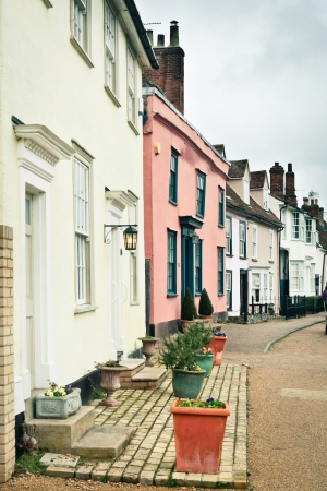 suffolk: Row of traditional town houses in Clare, Suffolk