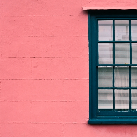Green sash window in a classic suffolk pink wall photo
