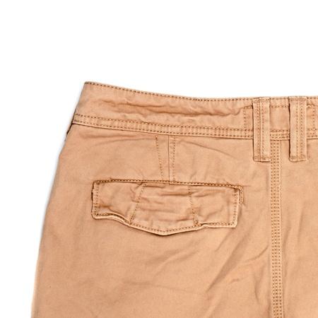 khaki pants: Mans trousers on white background showing rear pocket