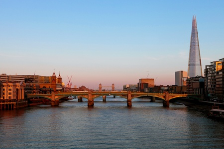 southwark: River Thames and Southwark Bridge at twilight, April 2013