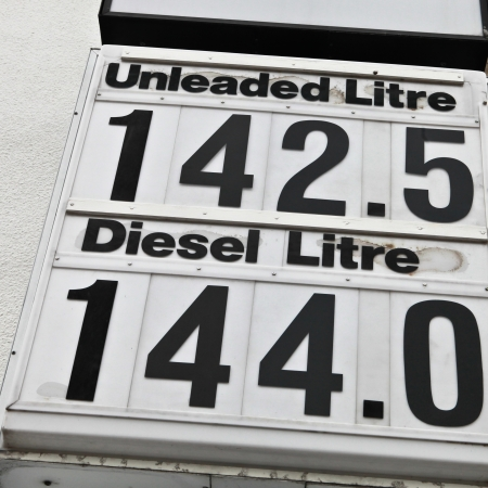 High petrol prices at a rural UK filling station photo