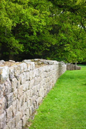 Preserved section of Hadrian's Wall in Northumberland, UK photo